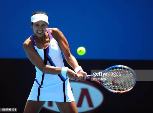 Great Britain's Anna Keothavong on her way to defeating Romania's Irina Begu in her qualifying match for the 2011 Australian Open at Melbourne Park...