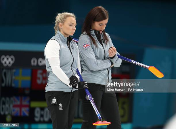 Great Britain's Anna Sloan and skipper Eve Muirhead appear dejected after defeat during the Women's SemiFinal against Sweden at the Gangneung Curling...