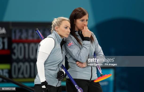 Great Britain's Anna Sloan and skipper Eve Muirhead during the Women's SemiFinal against Sweden at the Gangneung Curling Centre during day fourteen...