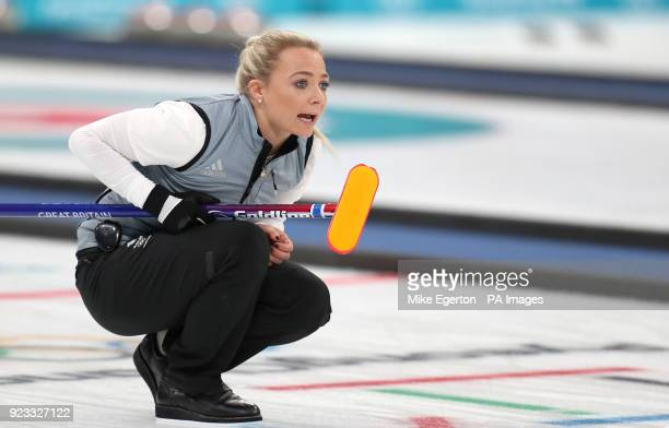 Great Britain's Anna Sloan during the Women's SemiFinal against Sweden at the Gangneung Curling Centre during day fourteen of the PyeongChang 2018...