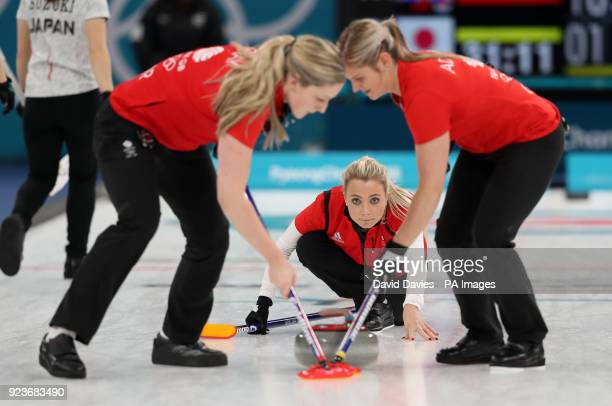 Great Britain's Anna Sloan releases the stone during the Women's Bronze Medal match at the Gangneung Curling Centre during day fifteen of the...