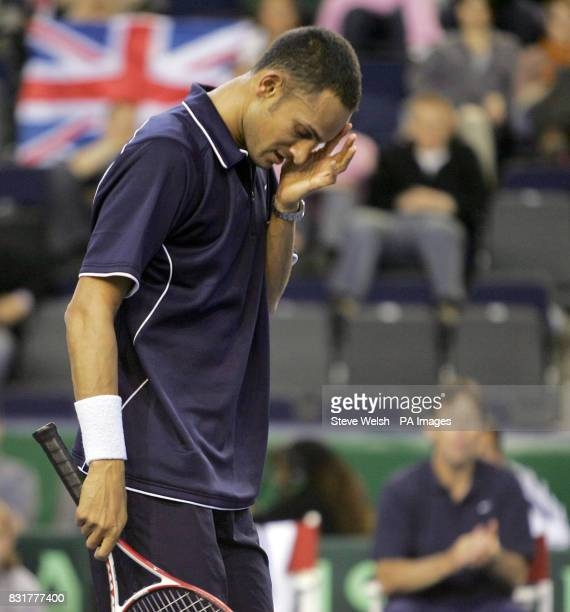 Great Britain's Arvind Parmar during the Davis Cup match against Serbia Montenegro's Novak Djokovic at the Braehead Arena Glasgow Friday April 7 2006