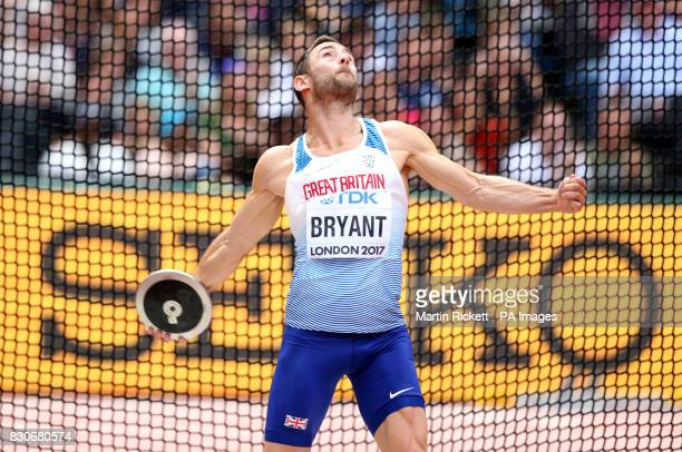 Great Britain's Ashley Bryant competes in the Discus during the Men's Decathlon during day nine of the 2017 IAAF World Championships at the London...
