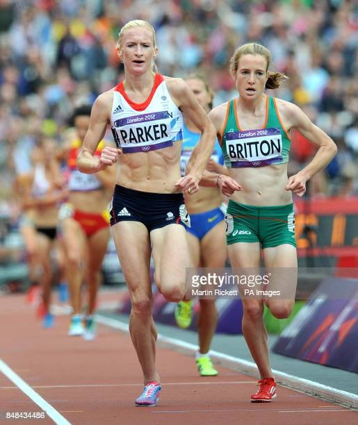Great Britain's Barbara Parker and Irelands Fionnuala Britton in action during the Women's 5000m Round One at the Olympic Stadium London during day...