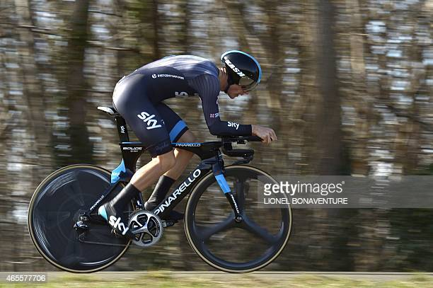 Great Britain's Ben Swift competes during the 67 km individual timetrial and prologue of the 73rd edition of the ParisNice cycling race on March 8 in...