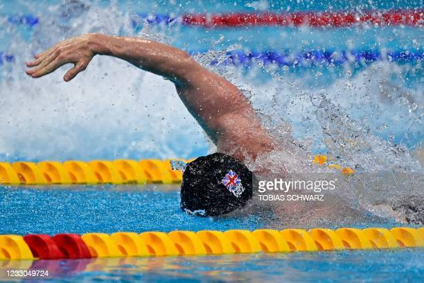 Great Britain's Benjamin Proud competes in a semi-final of the Mens 50m Freestyle Swimming event during the LEN European Aquatics Championships at...