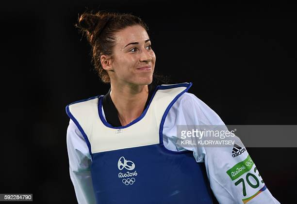 Great Britain's Bianca Walkden smiles after her womens taekwondo qualifying bout in the 67kg category as part of the Rio 2016 Olympic Games on August...