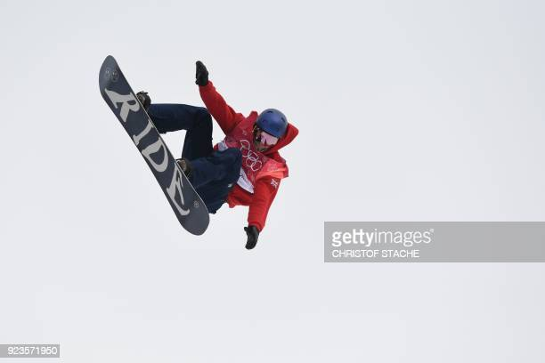 Great Britain's Billy Morgan competes during run 3 of the final of the men's snowboard big air event at the Alpensia Ski Jumping Centre during the...