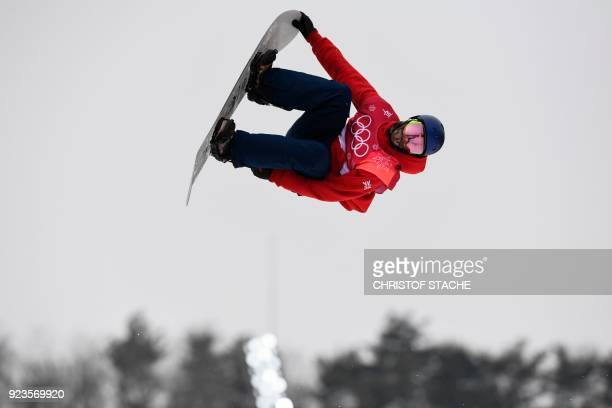 Great Britain's Billy Morgan goes airborne on his way to winning bronze in the final of the men's snowboard big air event at the Alpensia Ski Jumping...