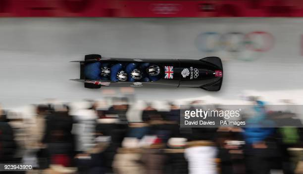 Great Britain's Brad Hall and his team during the 4man Bobsleigh at the Olympic Sliding Centre during day fifteen of the PyeongChang 2018 Winter...