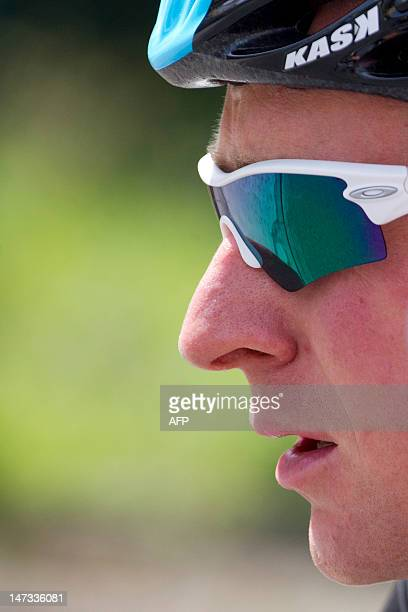 Great Britain's Bradley Wiggins rides in a training session for Great Britain's Sky cycling team on June 28 2012 in Verviers near Liege Belgium two...