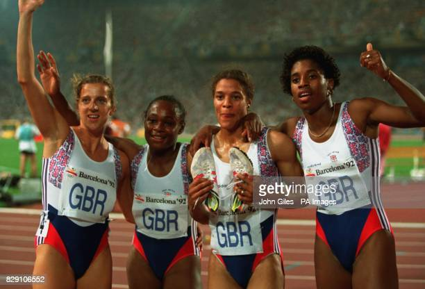 Great Britain's Bronze medal winners celebrate after victory in the 4x400m Olympic event in Barcelona L/R Sally Gunnell Sandra Douglas Phylis Smith...