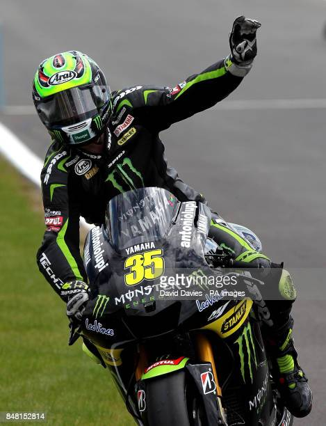 Great Britain's Cal Crutchlow acknowledges the crowd after the British round of Moto GP at Silverstone Circuit, Northamptonshire.