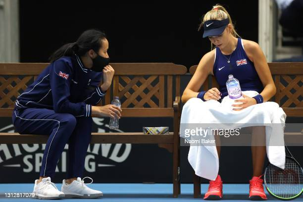 Great Britain's captain Anne Keothavong and Katie Boulter of Great Britain chat during match one between Katie Boulter of Great Britain and Marcela...