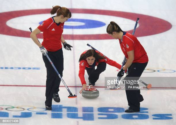 Great Britain's captain Eve Muirhead in the Curling Round Robin Session 3 at the Ice Cube Curling Centre during the 2014 Sochi Olympic Games in...