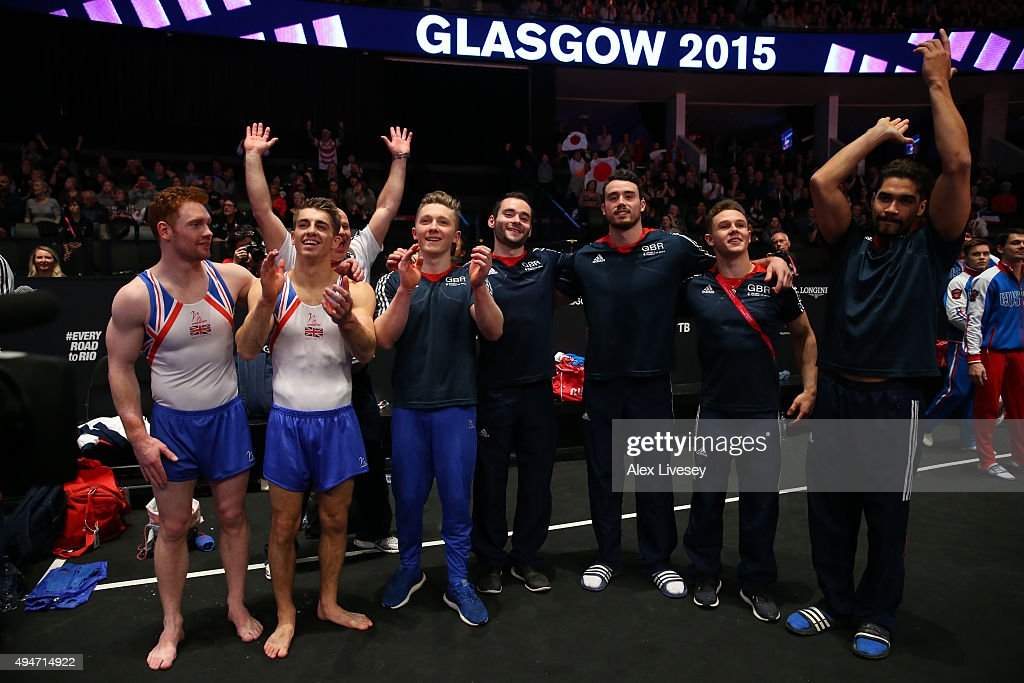 Great Britain's celebrate winning silver during day six of World Artistic Gymnastics Championship at The SSE Hydro on October 28, 2015 in Glasgow, Scotland.