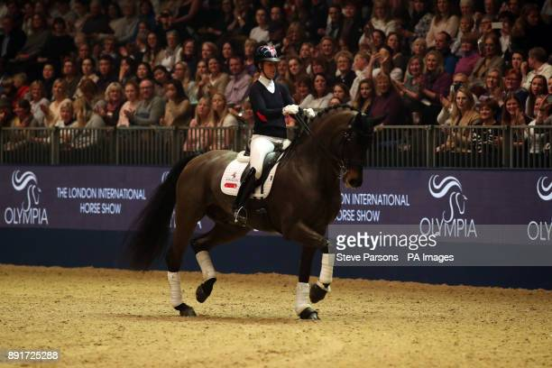 Great Britain's Charlotte Dujardin demonstrates the art of dressage in a Masterclass during day two of the London International Horse Show at London...