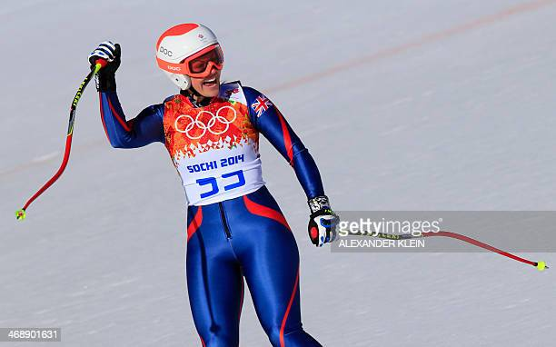 Great Britain's Chemmy Alcott reacts after finishing the Women's Alpine Skiing Downhill at the Rosa Khutor Alpine Center during the Sochi Winter...