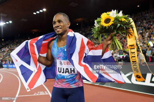 Great Britain's Chijindu Ujah celebrates after winning the men's 100m event during the IAAF Diamond League Athletics Weltklasse meeting in Zurich on...