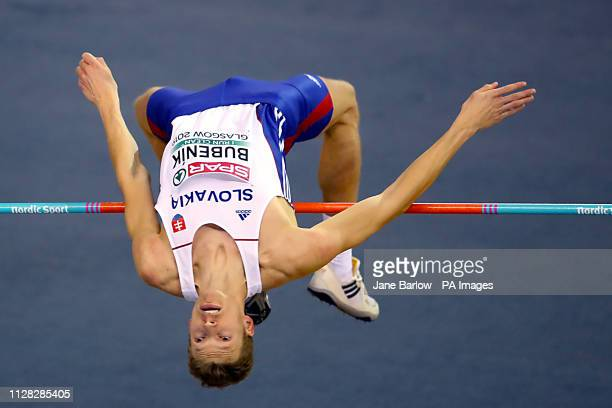 Great Britain's Chris Baker competes in the Men's High Jump qualifying during day one of the European Indoor Athletics Championships at the Emirates...
