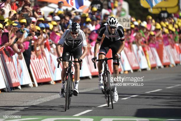 Great Britain's Christopher Froome and Netherlands' Tom Dumoulin ride in the last meters to place respectively 3rd and second of the eleventh stage...