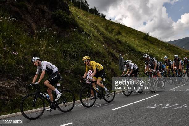 Great Britain's Christopher Froome Great Britain's Geraint Thomas wearing the overall leader's yellow jersey Colombia's Egan Bernal Netherlands' Tom...