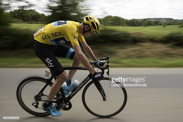 Great Britain's Christopher Froome rides in the pack during the 1815 km eighth stage of the 102nd edition of the Tour de France cycling race on July...