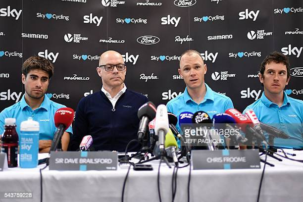 Great Britain's Christopher Froome Sky cycling team manager Sir Dave Brailsford Great Britain's Geraint Thomas and Spain's Mikel Landa take part in a...