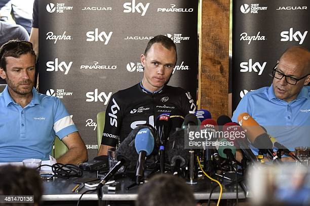 Great Britain's Christopher Froome the overall leader's yellow jersey gives a press conference at his hotel next to Sky Head of Athlete Performance...
