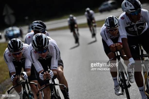 Great Britain's Christopher Froome trains with his Great Britain's Team Sky cycling team teammates on July 4, 2018 near Saint-Mars-la-Reorthe,...