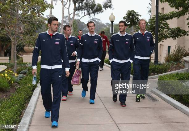 Great Britain's Davis Cup team arrive at the draw at Balboa Park Colin Fleming, captain Leon Smith,Andy Murray,James Ward and Dominic Inglot prior to...