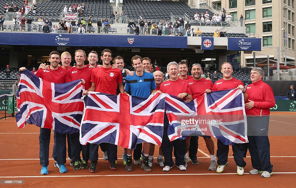 Great Britain's Davis Cup team celebrate 3-1 victory against of the United States during day three of the Davis Cup World Group first round between the U.S. and Great Britain at PETCO Park on February 2, 2014 in San Diego, California.