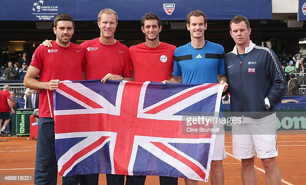 Great Britain's Davis Cup team LR Colin FlemingDominic InglotJames WardAndy Murray and capotain Leon Smith celebrate their 31 victory against of the...