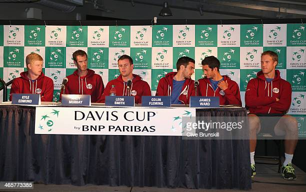 Great Britains Davis Cup team L-R Kyle Edmund,Andy Murray,captain Leon Smith,Colin Fleming,James Ward and Dominic Inglot answer questions from the...
