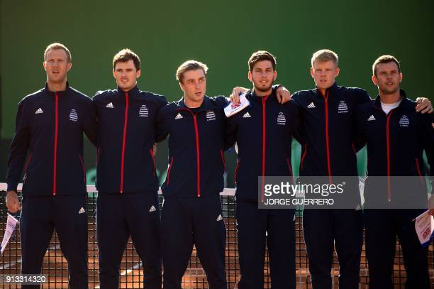 Great Britain's Davis Cup team players Dominic Inglot Jamie Murray Liam Broady Cameron Norrie Kyle Edmund and captain Leon Smith pose before the...