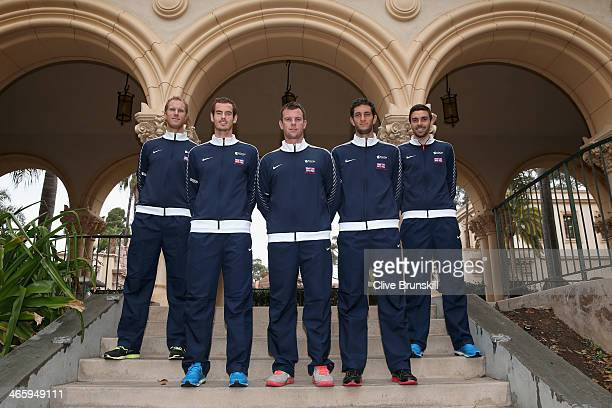Great Britain's Davis Cup team pose for a team photograph L-R Dominic Inglot,Andy Murray,captain Leon Smith,James Ward and Colin Fleming after the...