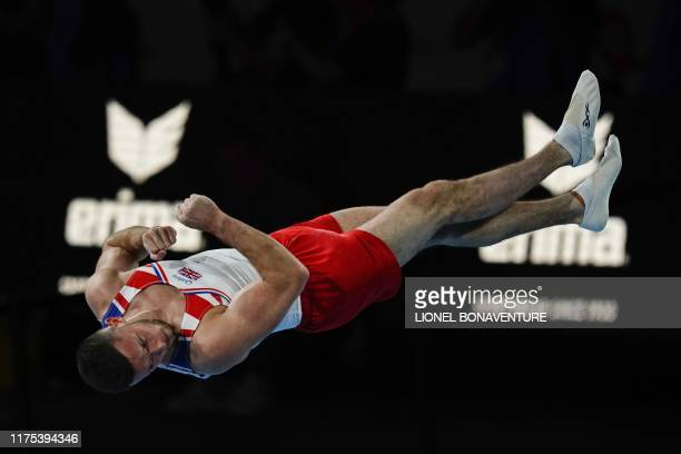 Great Britain's Dominick Cunningham performs on the floor during the apparatus finals at the FIG Artistic Gymnastics World Championships at the...