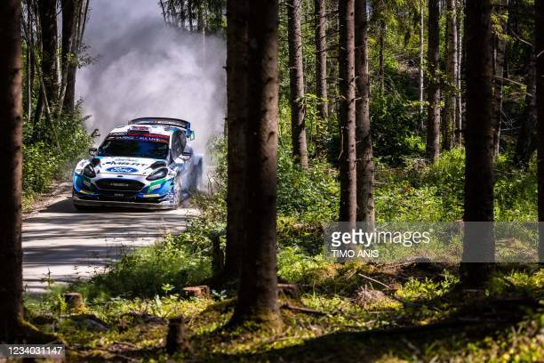 Great Britain's driver Gus Greensmith and Ireland's co-driver Chris Patterson steer their Ford Fiesta WRC car during stage 13 of the WRC Rally...
