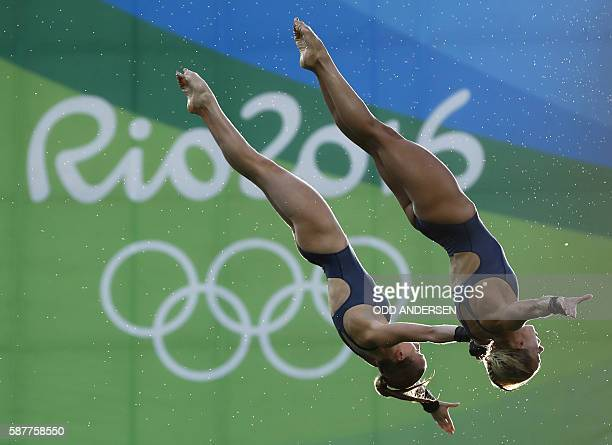 Great Britain's duet Tonia Couch and Lois Toulson compete in the Women's Synchronised 10m Platform Final during the diving event at the Rio 2016...