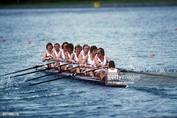Great Britain's Eights on their way to winning the silver medal. They are Richard Lester, John Yallop, Timothy Crooks, Hugh Matheson, David Maxwell,...
