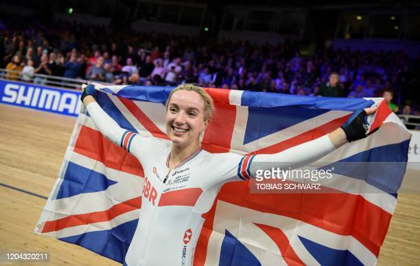 Great Britain's Elinor Barker celebrates after the women's 25km points final at the UCI track cycling World Championship at the velodrome in Berlin...