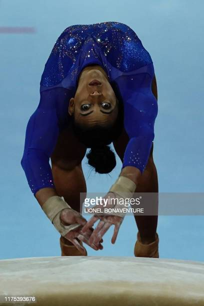 Great Britain's Elissa Downie performs on the vault during the apparatus finals at the FIG Artistic Gymnastics World Championships at the...