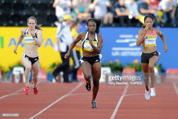 Great Britain's Emily Freeman and USA's Bianca Knight and Allyson Felix compete in the Women's 200m