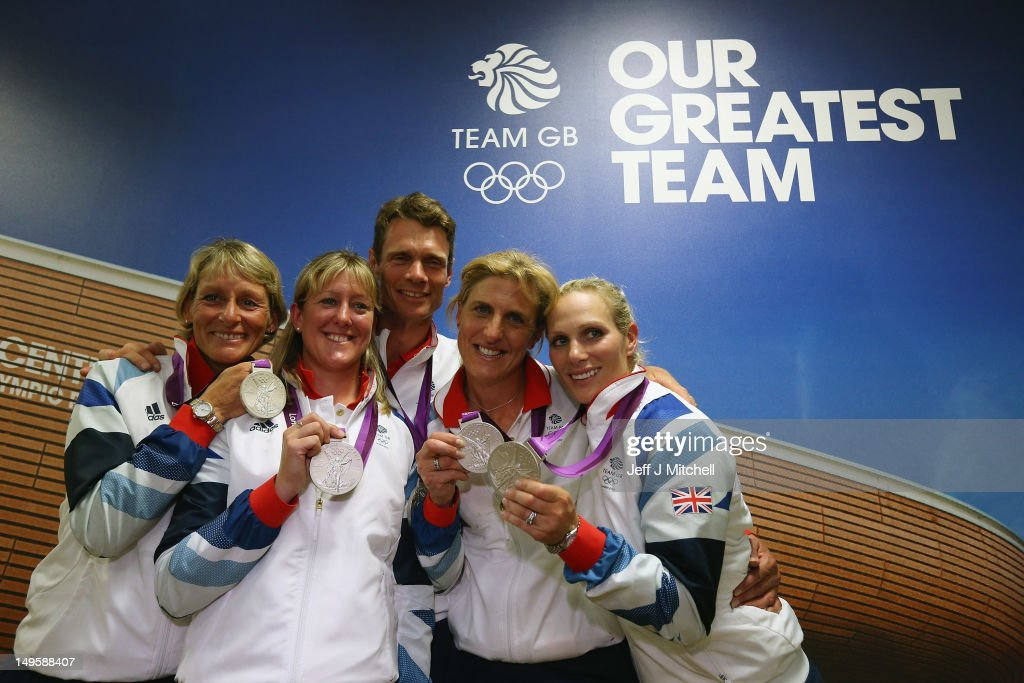Great Britain's Eventing Team (L-R) Mary King, Nicola Wilson, William Fox-Pitt, Kristina Cook and Zara Phillips show off their silver medals during a press conference on Day 4 of the London 2012 Olympic Games on July 31, 2012 in London, England.