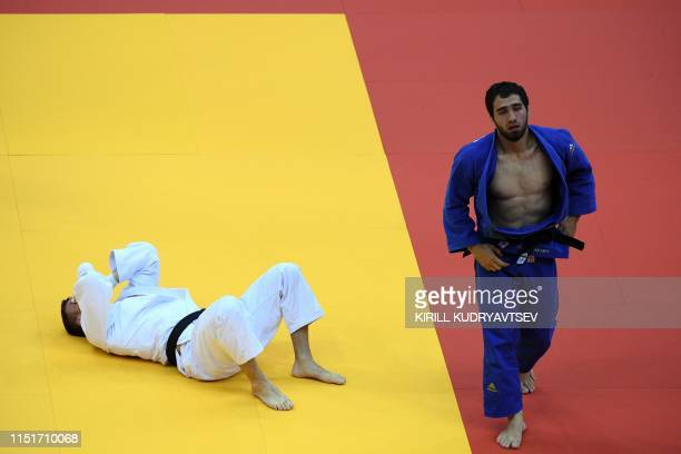 Great Britain's Frazer Chamberlain reacts during the men's 90kg middle weight bronze final with Russia's Khusen Khalmurzaev at the 2019 European...