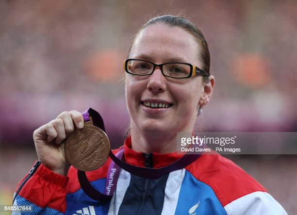 Great Britain's Gemma Prescott celebrates with her Bronze medal in the Women's Club Throw F31/32/51 at the Olympic Stadium London
