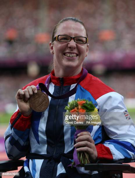 Great Britain's Gemma Prescott celebrates with her Bronze medal in the Women's Club Throw F31/32/51at the Olympic Stadium London