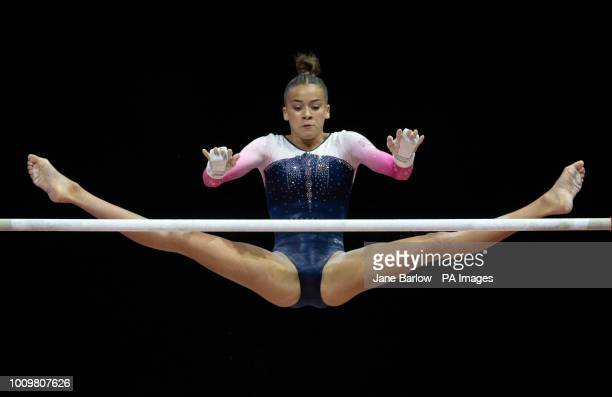 Great Britain's GeorgiaMae Fenton on the uneven bars during day one of the 2018 European Championships at The SSE Hydro Glasgow