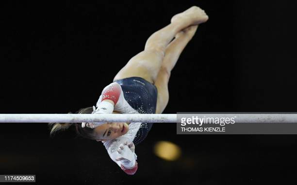 Great Britain's GeorgiaMae Fenton performs on the uneven bars during the women's team final at the FIG Artistic Gymnastics World Championships at the...