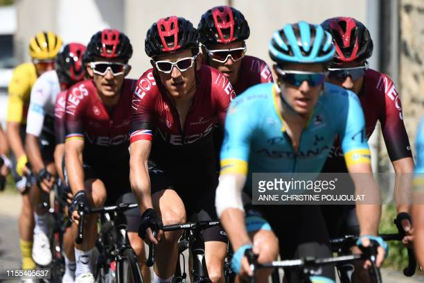 Great Britain's Geraint Thomas and Colombia's Egan Bernal ride in the pack during the eighth stage of the 106th edition of the Tour de France cycling...